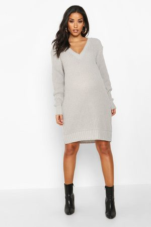 Boohoo Maternity V Neck Sweater Dress- Light