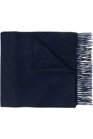 MACKINTOSH Navy Cashmere Embroidered Scarf | ACC-013/E