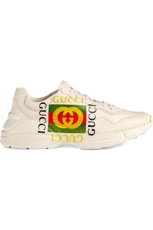 Gucci Ivory Rhyton logo leather sneaker