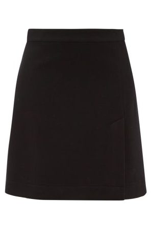 Raey A-line Split-hem Wool-blend Mini Skirt - Womens - Navy