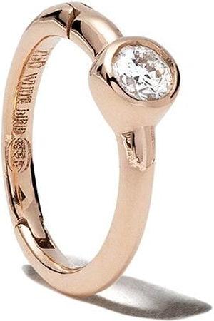 White Bird 18kt rose diamond Justine hoop earring