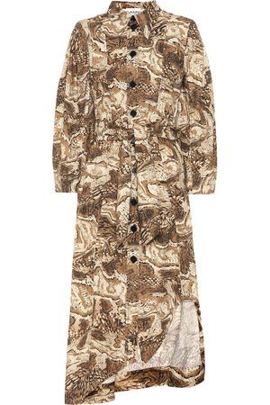 Ganni Printed cotton-poplin dress