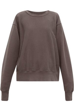 Les Tien Crew-neck Brushed-back Cotton Sweatshirt - Womens - Dark