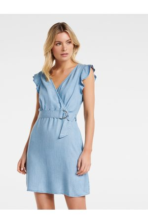 Forever New OLIVIA FRILL WRAP DENIM DRESS