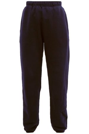 Les Tien Brushed-back Cotton Track Pants - Womens - Navy
