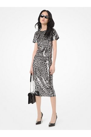 Michael Kors MK Sequined Leopard Top - Gunmetal - Michael Kors