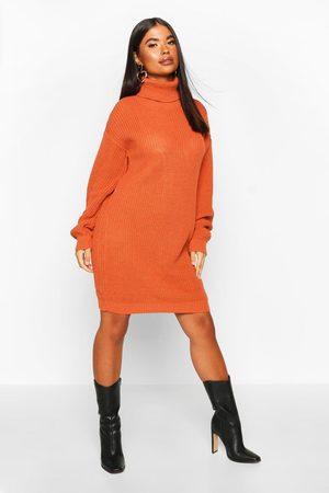 Boohoo Petite Roll Neck Sweater Dress- Toffee