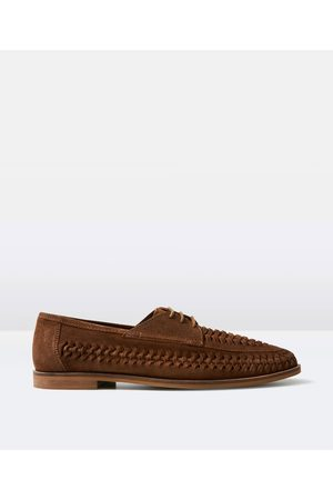 Arvust Men Loafers - Elliston Lace Up Suede Loafer Tobacco