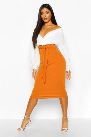 Boohoo Contrast Off Shoulder Wrap Midi Dress- Desert Sand