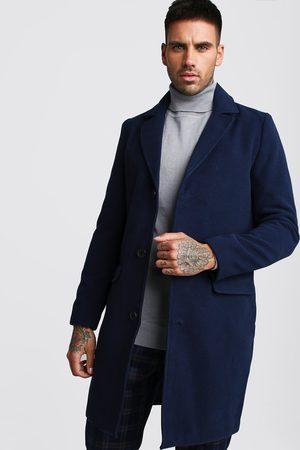 Boohoo Mens Navy Single Breasted Wool Mix Overcoat