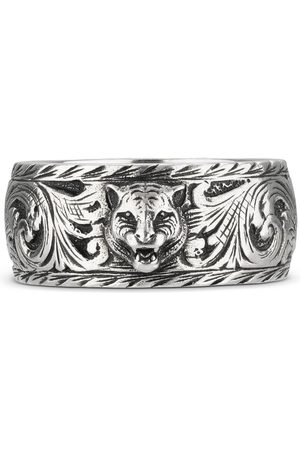Gucci Thin silver ring with feline head