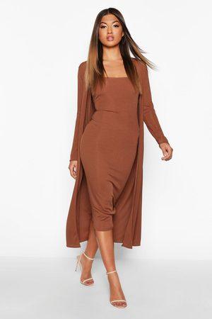 Boohoo Women Maxi Dresses - Ribbed Midi Dress & Duster Set- Chocolate