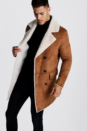 Boohoo Mens Tan Faux Suede Borg Lined Overcoat