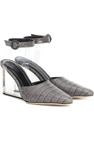 By Far Lex croc-effect leather pumps