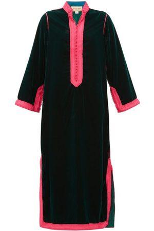 Muzungu Sisters Alia Woven-trim Velvet Tunic Dress - Womens - Dark