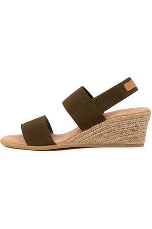 Django & Juliette Bloomy Dj Khaki Tan Sandals Womens Shoes Casual Heeled Sandals