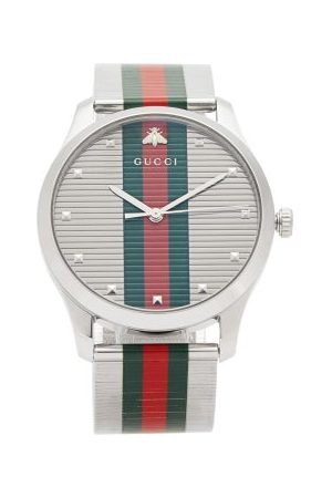Gucci Men Watches - G-timeless Web-stripe Stainless-steel Watch - Mens - Multi