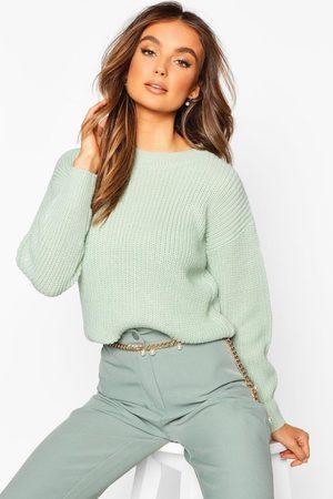 Boohoo Crop Fisherman Sweater- Sage