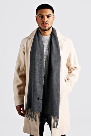 Boohoo Men Scarves - Mens Dark Plain Tassel Scarf