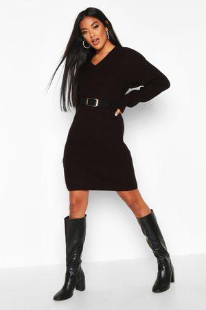 Boohoo Women Casual Dresses - Fisherman V Neck Sweater Dress