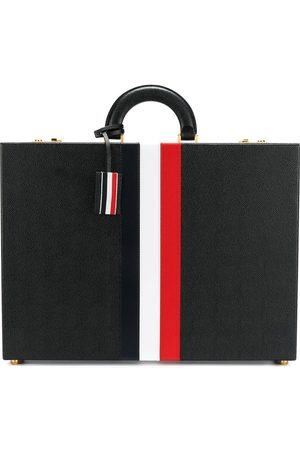 Thom Browne Attache Case With Red, White And Blue Calf Stripe In Pebble Grain