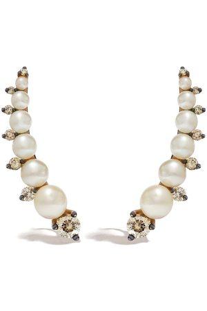 ANNOUSHKA 18kt rose gold diamons pearl ear pins