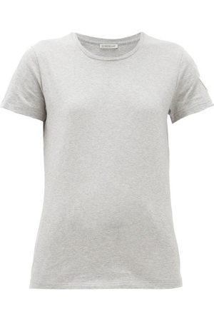 Moncler Velvet-logo Appliqué Cotton-jersey T-shirt - Womens