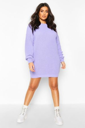 Boohoo Women Casual Dresses - Plus Crew Neck Sweater Dress- Lilac