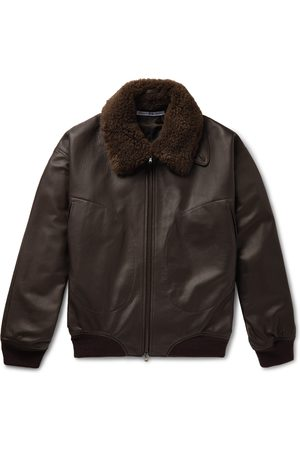 CONNOLLY + Goodwood Shearling-trimmed Leather Jacket