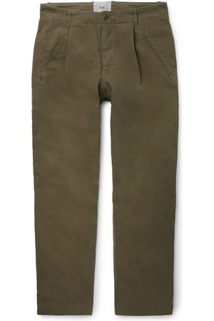 Folk Navy Assembly Tapered Pleated Cotton-canvas Trousers