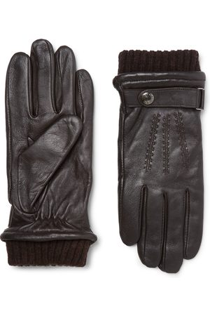 Dents Henley Leather And Wool-blend Tech Gloves
