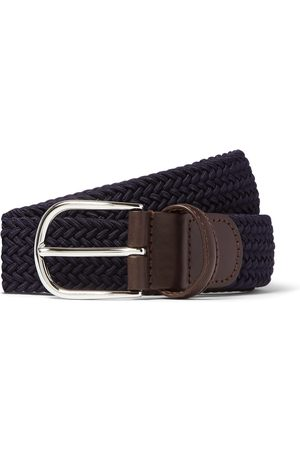 Anderson's 3.5cm Black Leather-trimmed Woven Elastic Belt