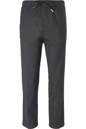 Mr P. Slim-fit Grey Stretch Wool And Cotton-blend Drawstring Trousers