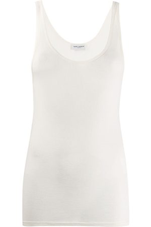 Saint Laurent Semi-sheer rib-knit tank top