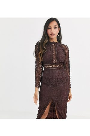 ASOS DESIGN Petite long sleeve pencil dress in lace with geo lace trims-Brown