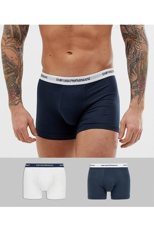 Emporio Armani 2 pack logo trunks in navy/white