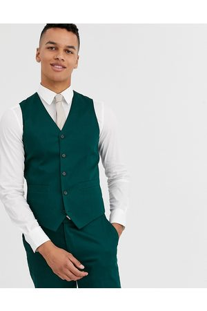 ASOS Wedding skinny suit waistcoat in cotton in forest green