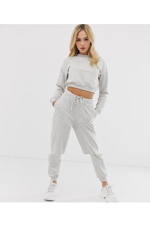 ASOS DESIGN tracksuit cropped sweat / slim jogger with tie-Grey