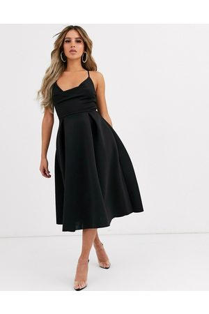 ASOS DESIGN cowl neck cami midi prom dress-Black