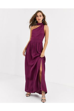 Little Mistress satin maxi dress in mulberry-Pink