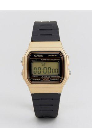 Casio F91WM-9A digital silicone strap watch in black/gold