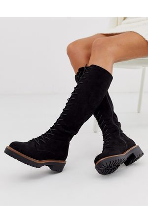 ASOS DESIGN Courtney chunky lace up knee high boots-Black