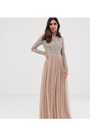 Maya Bridesmaid long sleeve maxi tulle dress with tonal delicate sequins in taupe blush-Brown