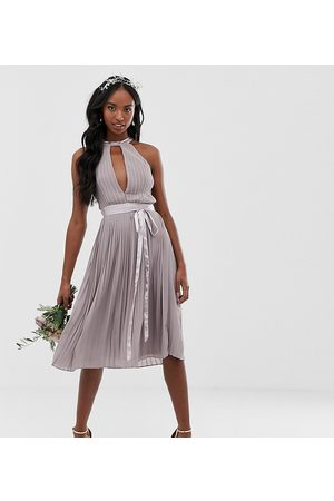 TFNC Tall pleated midi bridesmaid dress with cross back and bow detail in grey