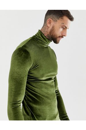 ASOS DESIGN muscle long sleeve t-shirt with stretch in velour with roll neck in khaki-Green