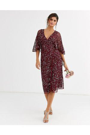 Maya Bridesmaid delicate sequin wrap midi dress wine-Red
