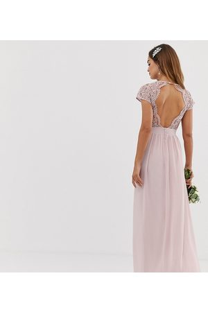 TFNC bridesmaid exclusive open back scalloped lace dress in mink-Beige