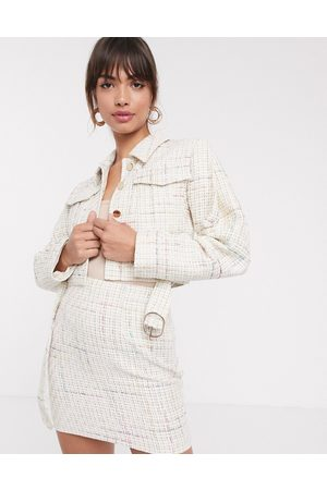 ASOS DESIGN exaggerated sleeve boucle suit blazer with pocket detail-White