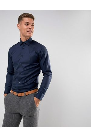 Selected Homme slim fit easy iron smart shirt in navy