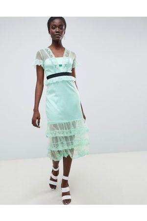 Three Floor Tiered Midi Dress With Contrast Waistband-Green